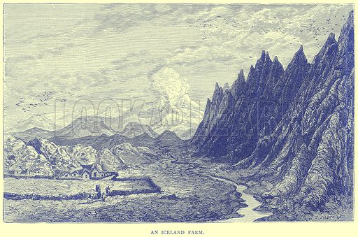 An Iceland Farm. Illustration from Illustrated Travels edited by H W Bates (Cassell, c 1880).