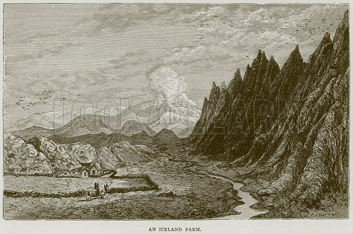 An Iceland Farm. Illustration from Illustrated Travels edited by HW Bates (Cassell, c 1880).