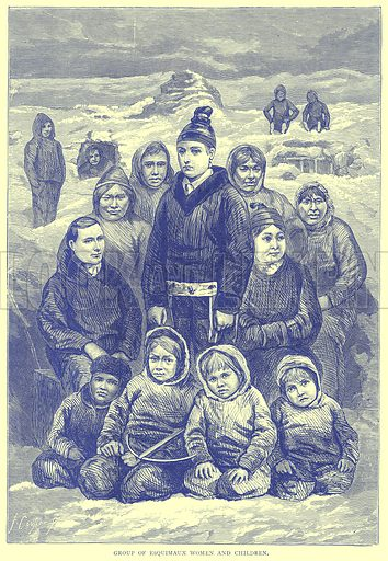 Group of Esquimaux Women and Children. Illustration from Illustrated Travels edited by H W Bates (Cassell, c 1880).