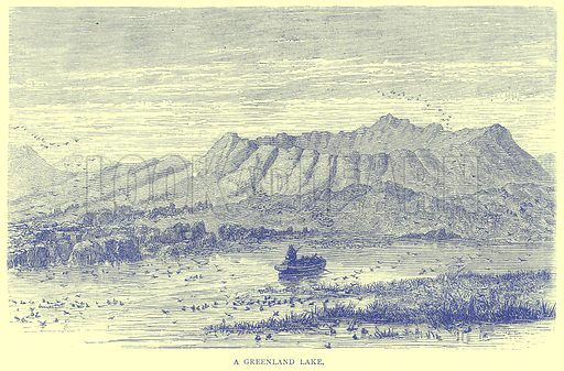 A Greenland Lake. Illustration from Illustrated Travels edited by H W Bates (Cassell, c 1880).