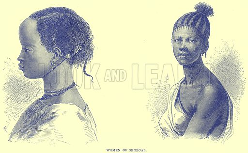Women of Senegal. Illustration from Illustrated Travels edited by H W Bates (Cassell, c 1880).