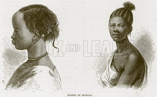 Women of Senegal. Illustration from Illustrated Travels edited by HW Bates (Cassell, c 1880).