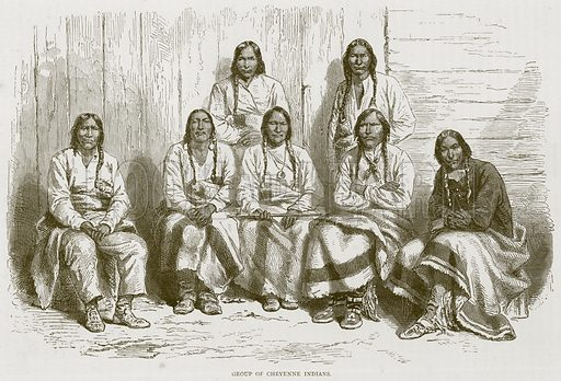 Group of Cheyenne Indians. Illustration from Illustrated Travels edited by H W Bates (Cassell, c 1880).