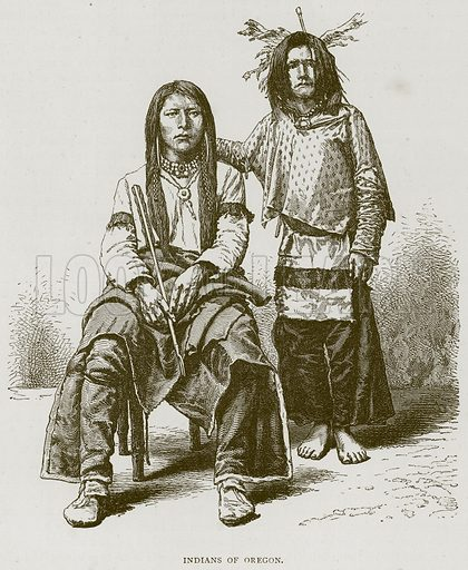 Indians of Oregon. Illustration from Illustrated Travels edited by H W Bates (Cassell, c 1880).