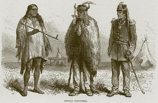 Indian Costumes. Illustration from Illustrated Travels edited by HW Bates (Cassell, c 1880).