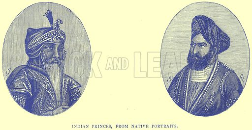 Indian Princes, from Native Portraits. Illustration from Illustrated Travels edited by H W Bates (Cassell, c 1880).