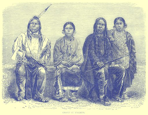 Group of Indians. Illustration from Illustrated Travels edited by H W Bates (Cassell, c 1880).