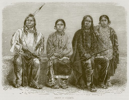 Group of Indians. Illustration from Illustrated Travels edited by HW Bates (Cassell, c 1880).
