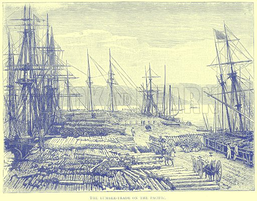 The Lumber-Trade on the Pacific. Illustration from Illustrated Travels edited by H W Bates (Cassell, c 1880).