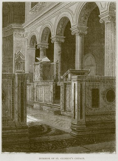 Interior of St. Clement's Church. Illustration from Illustrated Travels edited by H W Bates (Cassell, c 1880).