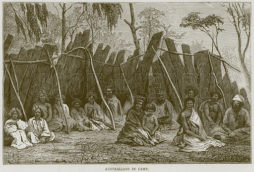 Australians in Camp. Illustration from Illustrated Travels edited by H W Bates (Cassell, c 1880).