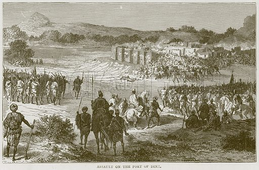 Assault on the Fort of Dina. Illustration from Illustrated Travels edited by H W Bates (Cassell, c 1880).