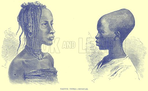 Native Types--Senegal. Illustration from Illustrated Travels edited by H W Bates (Cassell, c 1880).