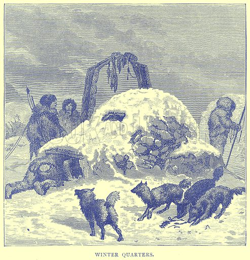 Winter Quarters. Illustration from Illustrated Travels edited by H W Bates (Cassell, c 1880).