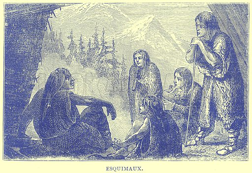 Esquimaux. Illustration from Illustrated Travels edited by H W Bates (Cassell, c 1880).