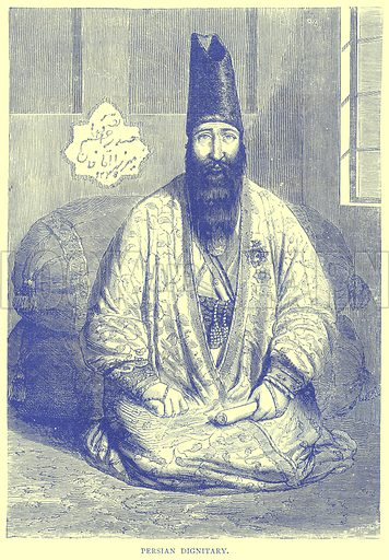 Persian Dignitary. Illustration from Illustrated Travels edited by H W Bates (Cassell, c 1880).