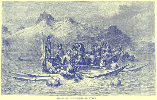Alongside the Greenland Kyaks. Illustration from Illustrated Travels edited by H W Bates (Cassell, c 1880).