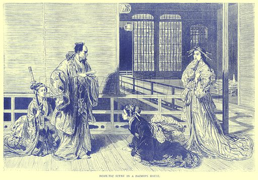 Domestic Scene in a Daimio's House. Illustration from Illustrated Travels edited by H W Bates (Cassell, c 1880).