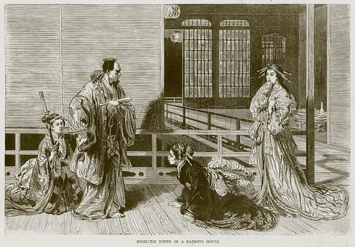 Domestic Scene in a Daimio's House. Illustration from Illustrated Travels edited by HW Bates (Cassell, c 1880).