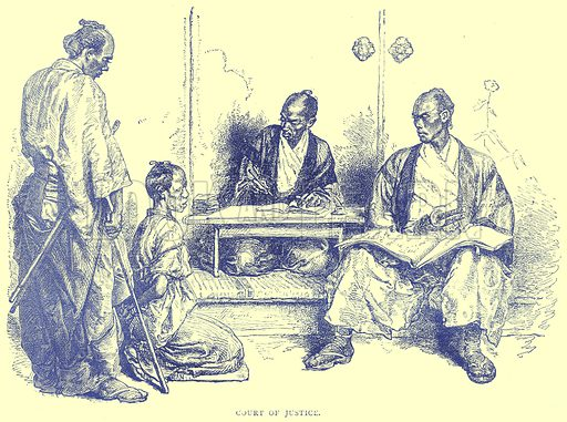 Court of Justice. Illustration from Illustrated Travels edited by H W Bates (Cassell, c 1880).