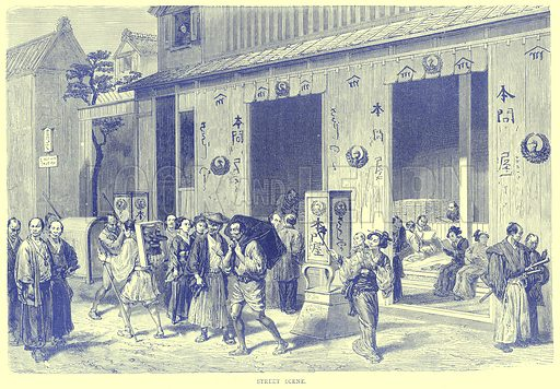 Street Scene. Illustration from Illustrated Travels edited by H W Bates (Cassell, c 1880).