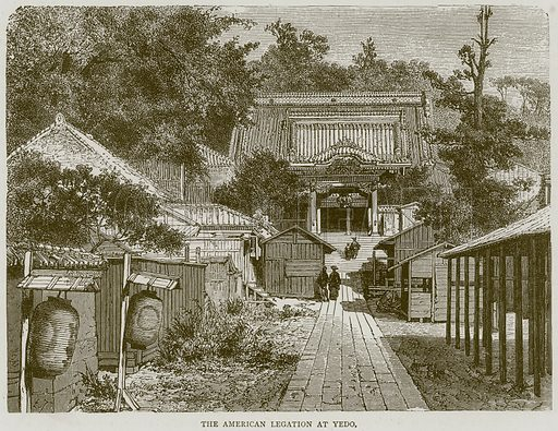 The American Legation at Yedo. Illustration from Illustrated Travels edited by H W Bates (Cassell, c 1880).