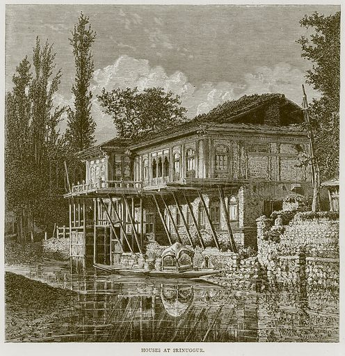 Houses at Srinuggur. Illustration from Illustrated Travels edited by H W Bates (Cassell, c 1880).