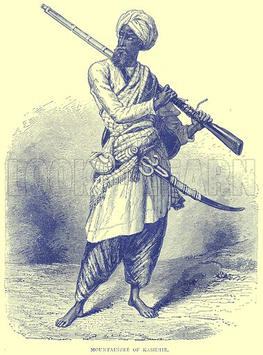 Mountaineer of Kashmir. Illustration from Illustrated Travels edited by H W Bates (Cassell, c 1880).
