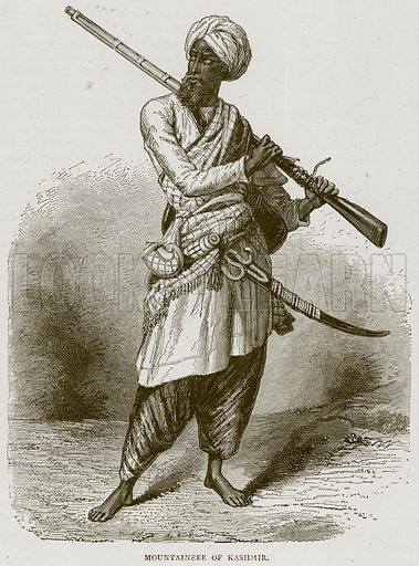 Mountaineer of Kashmir. Illustration from Illustrated Travels edited by HW Bates (Cassell, c 1880).