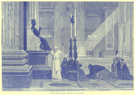 The Pope at the Statue of St. Peter. Illustration from Illustrated Travels edited by H W Bates (Cassell, c 1880).