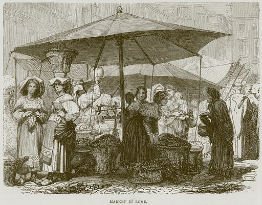 Market in Rome. Illustration from Illustrated Travels edited by HW Bates (Cassell, c 1880).