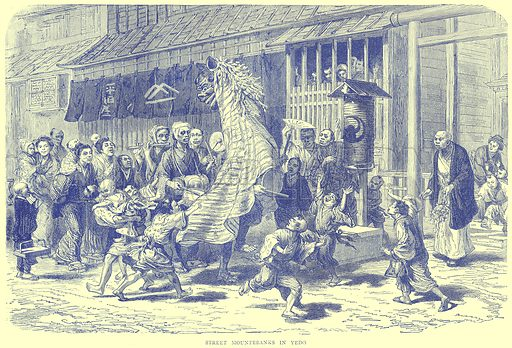 Street Mountebanks in Yedo. Illustration from Illustrated Travels edited by H W Bates (Cassell, c 1880).