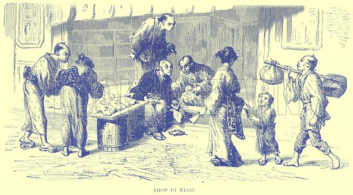 Shop in Yedo. Illustration from Illustrated Travels edited by H W Bates (Cassell, c 1880).