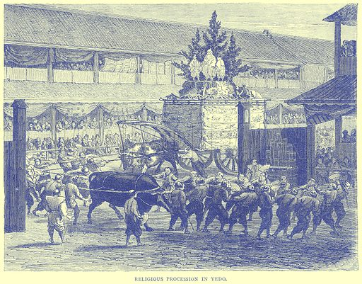 Religious Procession in Yedo. Illustration from Illustrated Travels edited by H W Bates (Cassell, c 1880).