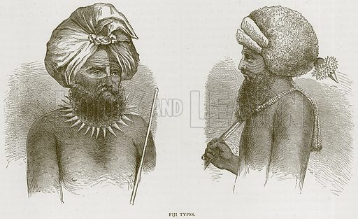 Fiji Types. Illustration from Illustrated Travels edited by H W Bates (Cassell, c 1880).