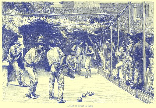 A Game of Bowls in Rome. Illustration from Illustrated Travels edited by H W Bates (Cassell, c 1880).