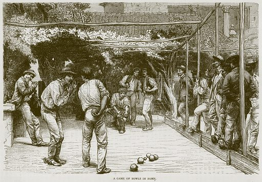 A Game of Bowls in Rome. Illustration from Illustrated Travels edited by HW Bates (Cassell, c 1880).