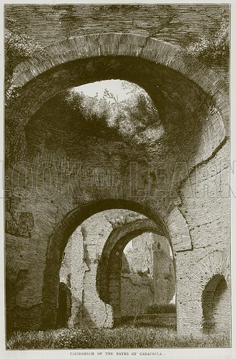 Calidarium of the Baths of Caracalla. Illustration from Illustrated Travels edited by H W Bates (Cassell, c 1880).