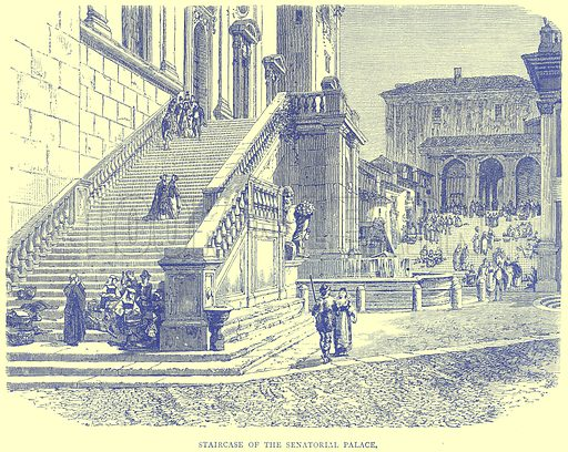 Staircase of the Senatorial Palace. Illustration from Illustrated Travels edited by H W Bates (Cassell, c 1880).