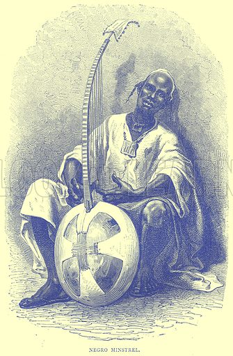 Negro Minstrel. Illustration from Illustrated Travels edited by H W Bates (Cassell, c 1880).