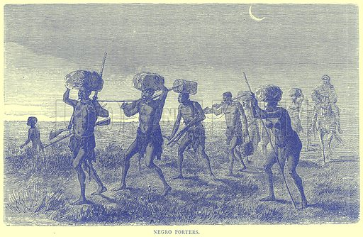 Negro Porters. Illustration from Illustrated Travels edited by H W Bates (Cassell, c 1880).