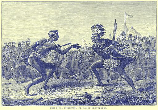The Rival Isimbongi, or Court Flatterers. Illustration from Illustrated Travels edited by H W Bates (Cassell, c 1880).