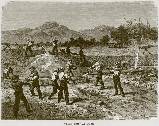 """""""Long Tom"""" at Work. Illustration from Illustrated Travels edited by H W Bates (Cassell, c 1880)."""