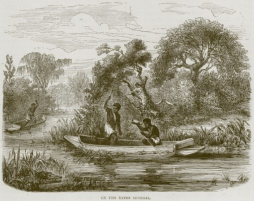 On the Upper Senegal. Illustration from Illustrated Travels edited by H W Bates (Cassell, c 1880).