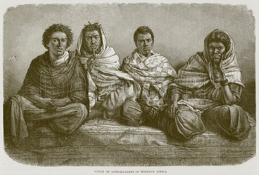 Group of Mohammedans of Western Africa. Illustration from Illustrated Travels edited by HW Bates (Cassell, c 1880).