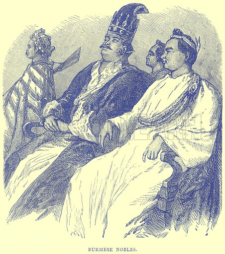 Burmese Nobles. Illustration from Illustrated Travels edited by H W Bates (Cassell, c 1880).