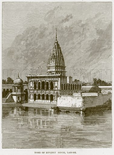 Tomb of Runjeet Singh, Lahore. Illustration from Illustrated Travels edited by H W Bates (Cassell, c 1880).