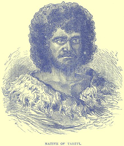 Native of Tahiti. Illustration from Illustrated Travels edited by H W Bates (Cassell, c 1880).