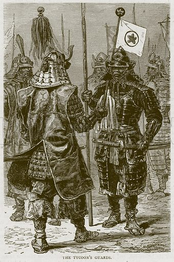 The Tycoon's Guards. Illustration from Illustrated Travels edited by HW Bates (Cassell, c 1880).