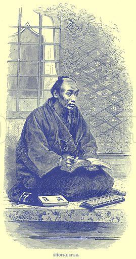 Shopkeeper. Illustration from Illustrated Travels edited by H W Bates (Cassell, c 1880).